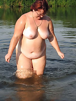 Big titted nudist mature plumpers in water - Chubby Naturists