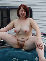 Fat mature nudist women swimming in a pool - Chubby Naturists