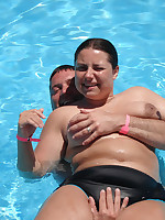 Fat and happy nudist ladies in pool - Chubby Naturists