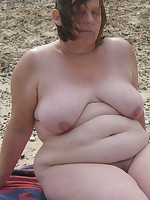 Fat women over 50 on a nudist beach - Chubby Naturists
