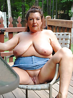 Mature nudists in their home garden - Chubby Naturists