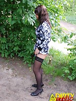 Margo piising near the public road - Nudists Swingers